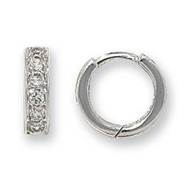 Treasure House 9k White Gold Cubic Zirconia Hinged Hoop Earrings ER026W