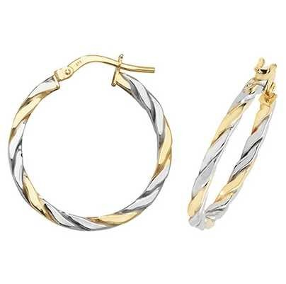 Treasure House 9k White and Yellow Gold Hoop Earrings 20 mm ER1041YW-20