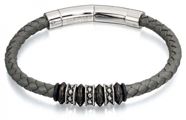 Fred Bennett Grey Leather Stianless Steel Bead Bracelet B4728