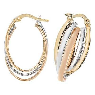 Treasure House 9k Tri Colour Gold Oval Hoop Earrings ER1002