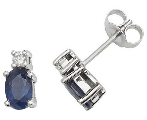 James Moore TH 9k White Gold Oval Sapphire Diamond Stud Earrings ED249WS