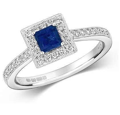 James Moore TH 9k White Gold Sapphire Square Diamond Cluster Ring RD413WS
