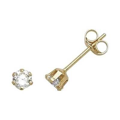 James Moore TH 9k Yellow Gold Cubic Zirconia Stud Earrings 3 mm ES210
