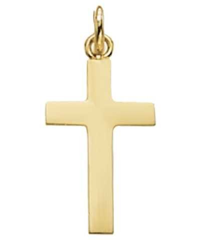 Treasure House 9k Yellow Gold Solid Flat Cross Pendant PN120