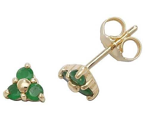 James Moore TH 9k Yellow Gold 3 Stone Emerald Stud Earrings ED240E