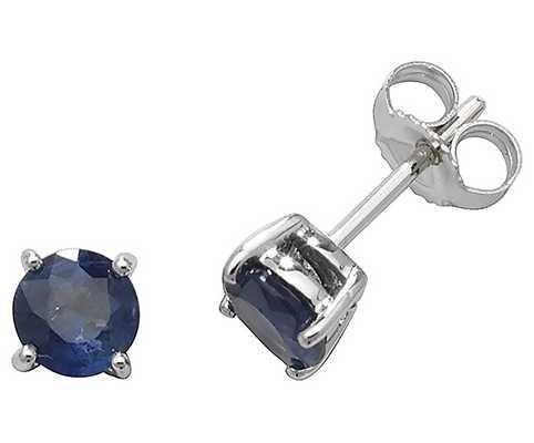 James Moore TH 9k White Gold Sapphire Stud Earrings ED241WS