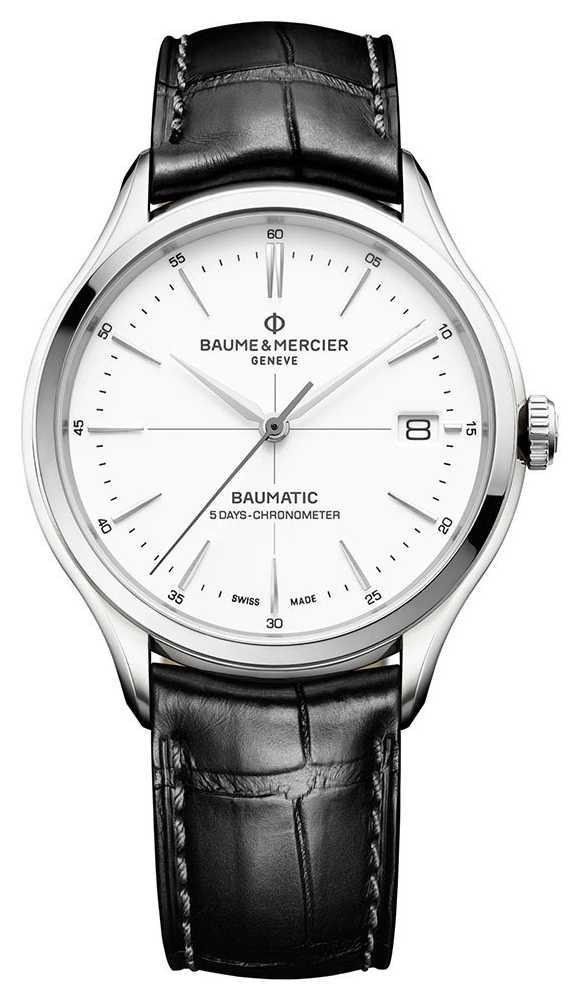 Baume & Mercier | Mens Clifton | Baumatic | Black Leather | White Dial | M0A10518