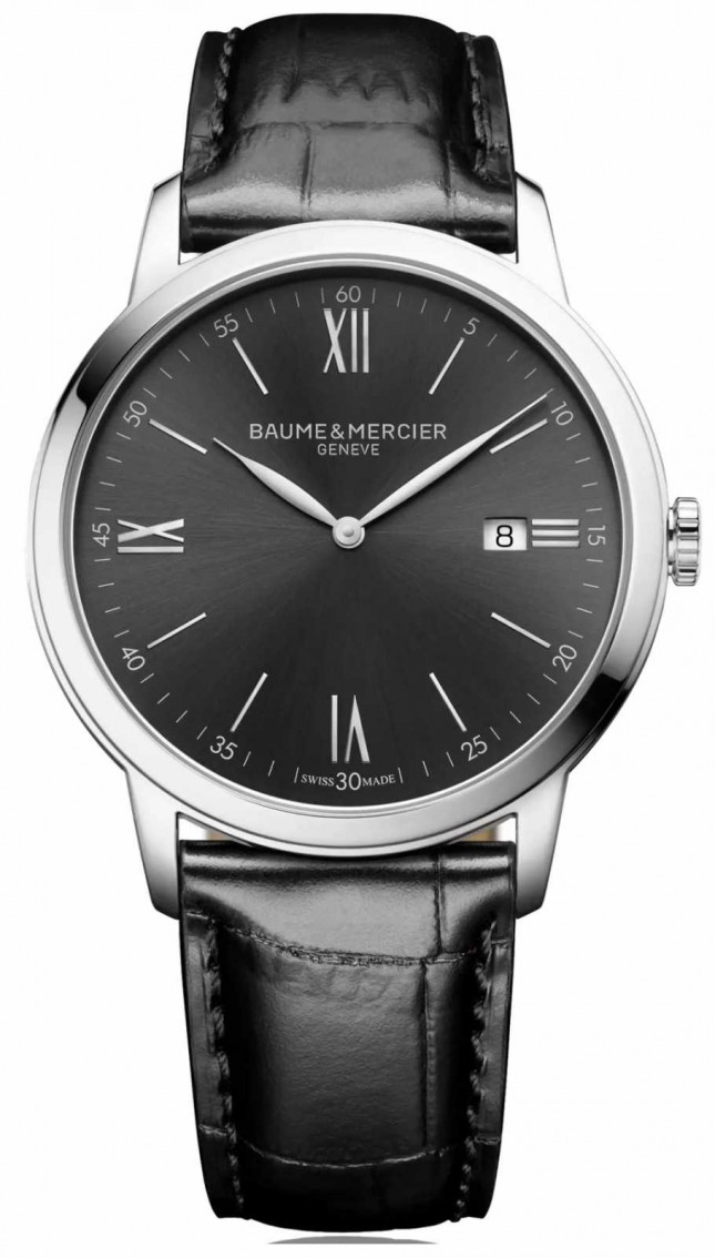 Baume & Mercier   Mens Classima   Black Leather   Slate Grey Dial   M0A10416