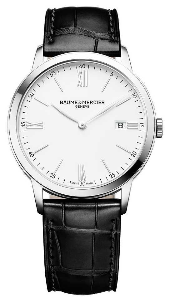 Baume & Mercier | Mens Classima | Black Leather Strap | White Dial | M0A10323