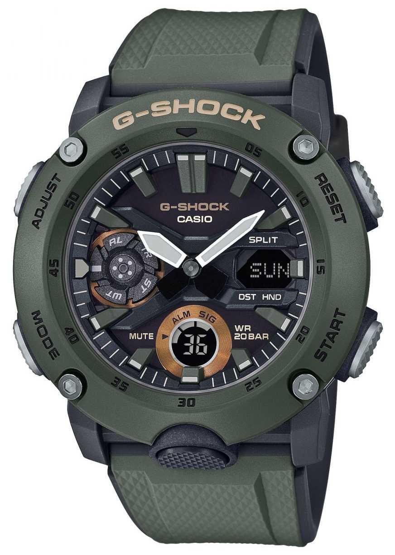 Casio | G-Shock Carbon Core Guard | Green Rubber Strap | GA-2000-3AER