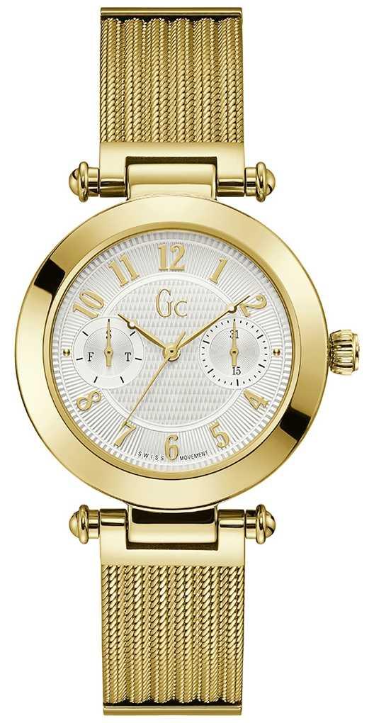 Gc   Women's PrimeChic   Gold Mesh Bracelet   White Dial   Y48003L7MF
