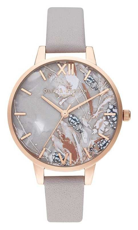 Olivia Burton | Womens | Abstract Florals | Grey Lilac Leather Strap | OB16VM37