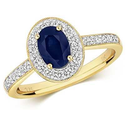 James Moore TH 9k Yellow Gold Sapphire Diamond Round Ring RD417S