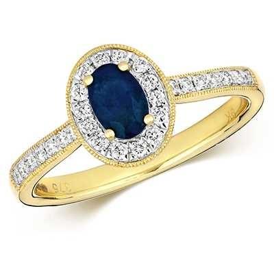 Treasure House 9k Yellow Gold Sapphire Diamond Round Ring RD416S