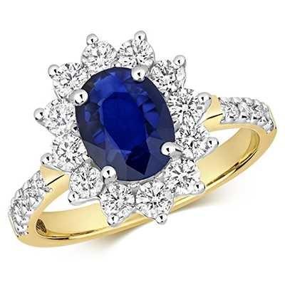 Treasure House 9k Yellow Gold Sapphire Diamond Set Shoulders Ring RD283S