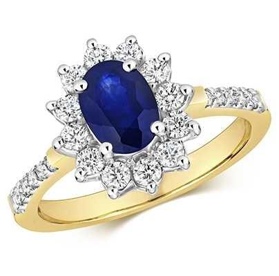 Treasure House 9k Yellow Gold Sapphire Diamond Set Shoulders Ring RD282S