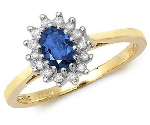 Treasure House 9k Yellow Gold Sapphire Diamond Cluster Ring RD260S