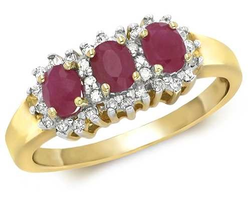 Treasure House 9k Yellow Gold 3 Ruby Diamond Cluster Ring RD263R