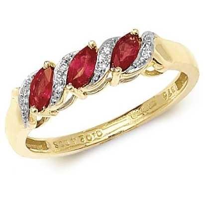 Treasure House 9k Yellow Gold Ruby Diamond Ring RD274R