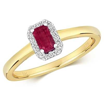 Treasure House 9k Yellow Gold Ruby Diamond Octagon Ring RD409R