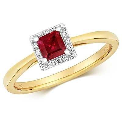 Treasure House 9k Yellow Gold Ruby Diamond Square Ring RD411R
