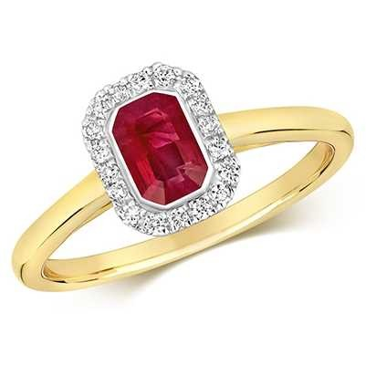 Treasure House 9k Yellow Gold Ruby Diamond Octagon Ring RD410R