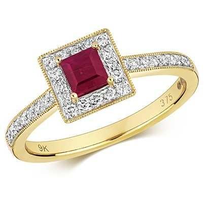 Treasure House 9k Yellow Gold Ruby Diamond Square Ring RD413R