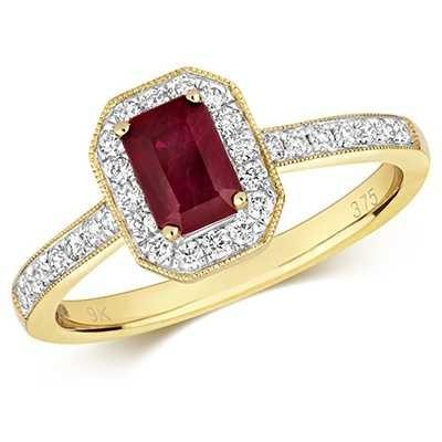 Treasure House 9k Yellow Gold Ruby Diamond Octagon Ring RD415R