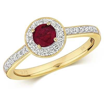 Treasure House 9k Yellow Gold Ruby Diamond Round Ring RD414R