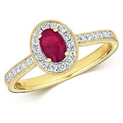 Treasure House 9k Yellow Gold Ruby Diamond Oval Ring RD416R