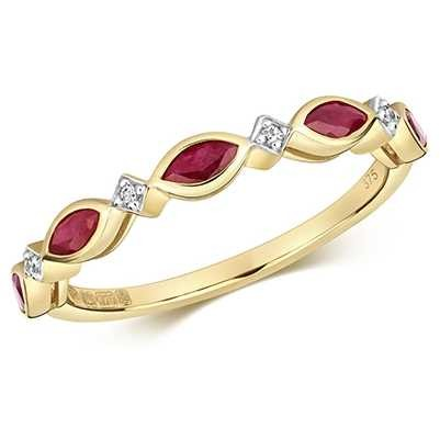 Treasure House 9k Yellow Gold Ruby Diamond Cluster Ring RD472R