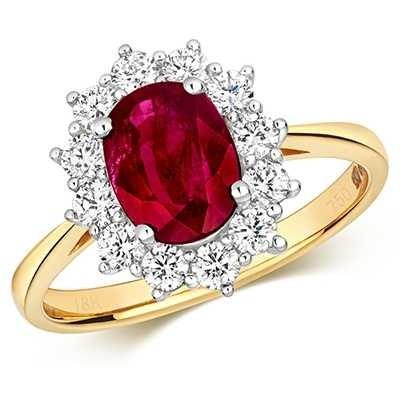 Treasure House 9k Yellow Gold Ruby Diamond Cluster Ring RDQ431R