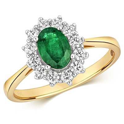 Treasure House 9k Yellow Gold Emerald Diamond Cluster Ring RDQ430E