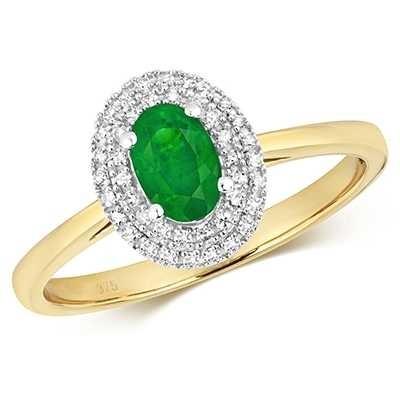 Treasure House 9k Yellow Gold Emerald Diamond Oval Ring RD448E