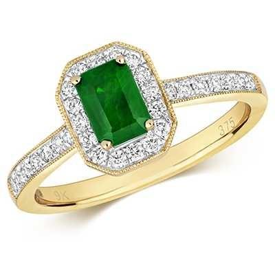 Treasure House 9k Yellow Gold Emerald Diamond Octagon Ring RD415E