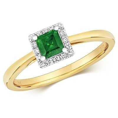 Treasure House 9k Yellow Gold Emerald Diamond Cushion Ring RD411E