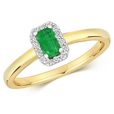 Treasure House 9k Yellow Gold Emerald Diamond Cluster Ring RD409E