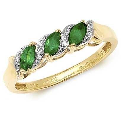 Treasure House 9k Yellow Gold 3 Emerald Diamond Ring RD274E