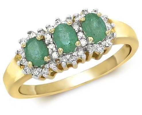 Treasure House 9k Yellow Gold 3 Emerald Diamond Cluster Ring RD263E