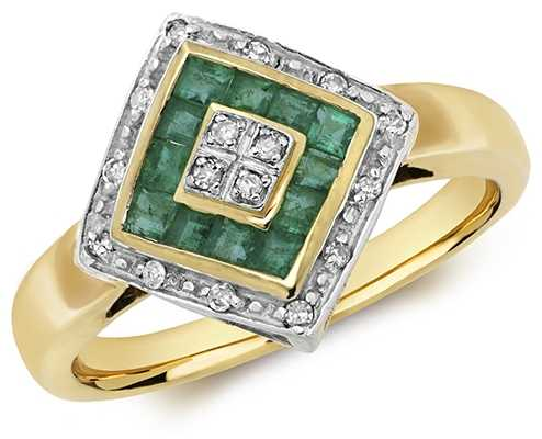 Treasure House 9k Yellow Gold Emerald Diamond Ring RD227E