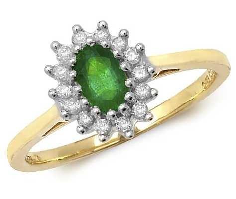 Treasure House 9k Yellow Gold Emerald Diamond Cluster Ring RD260E