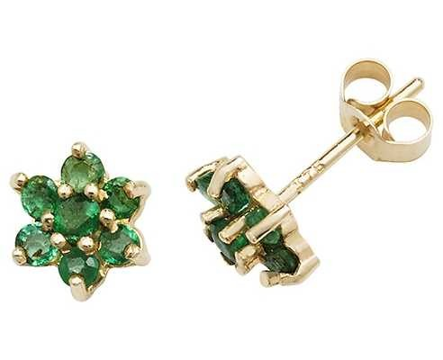 Treasure House 9k Yellow Gold Emerald Flower Stud Earrings ES544EM
