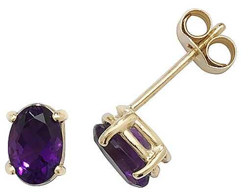 James Moore TH 9k Yellow Gold Amethyst Stud Earrings ES382AM
