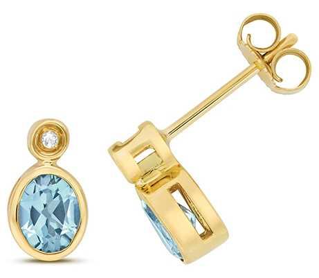 James Moore TH 9k Yellow Gold Diamond Blue Topaz Stud Earrings ED260BT