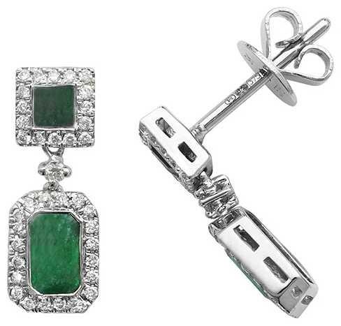 Treasure House 9k White Gold Diamond Emerald Drop Earrings ED253WE