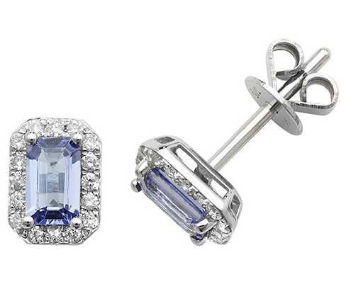 James Moore TH 9k White Gold Octagon Tanzanite Diamond Stud Earrings ED251WT