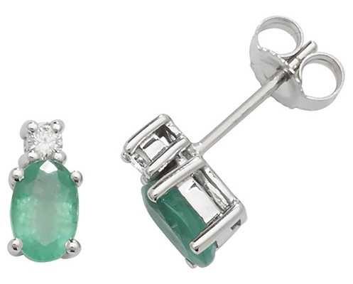 Treasure House 9k White Gold Oval Emerald Diamond Stud Earrings ED249WE