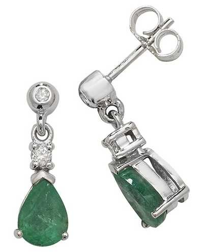 Treasure House 9k White Gold Emerald Diamond Drop Earrings ED245WE