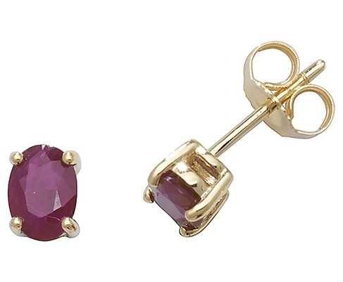 Treasure House 9k Yellow Gold Oval Ruby Stud Earrings ED242R