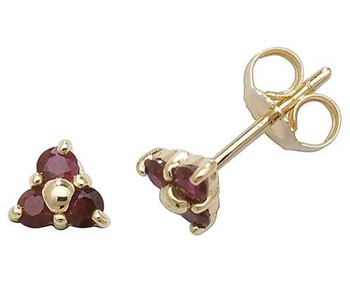 James Moore TH 9k Yellow Gold 3 Stone Ruby Stud Earrings ED240R